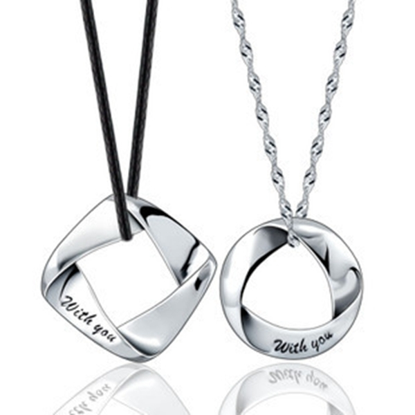 Men Woman Accessories Couple Necklace Lovers Fashion 2015 Trendy 925 Silver Jewlery Round square Pendant Necklaces