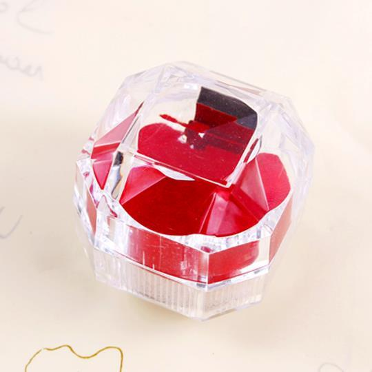 women's wedding jewelry Crystal transparent reflective substrate octagonal box creative marriage proposal wedding Ring Ring Box(China (Mainland))