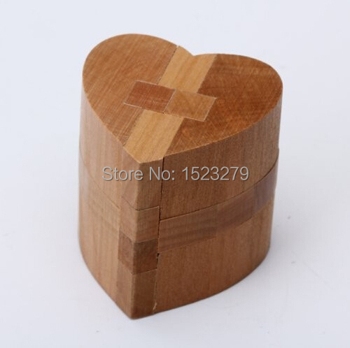 Luban Kongming 3D DIY wooden educational toys Heart Lock Educational Puzzle Toy wooden jigsaw for kids factory direct sale(China (Mainland))