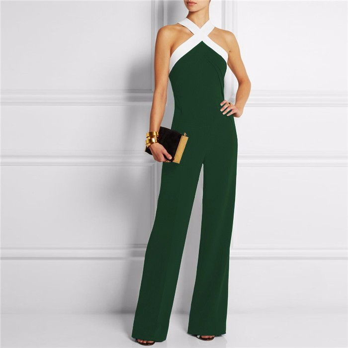 2016 Womens Rompers Black Cross Neck Wide Leg Stitching Sling Halter Jumpsuit Ladies Elegant Playsuits Plus Size Overalls