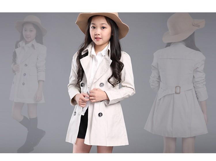 Скидки на Чистого хлопка пальто для девочек-младенцев trenckot дважды груди пальто габардин infantil длинное пальто для девушки осенняя одежда