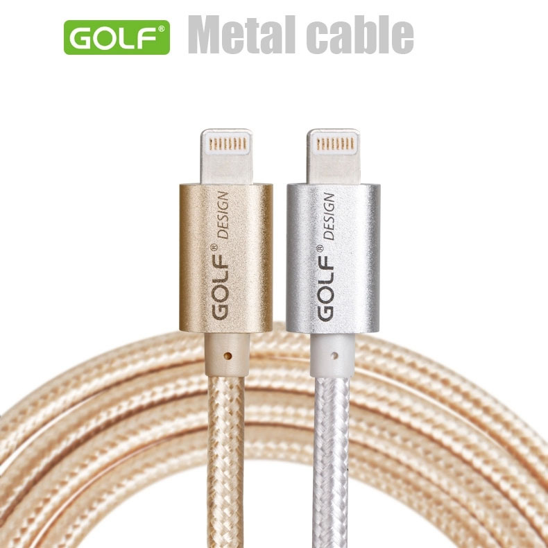 GOLF Metal nylon 8-Pin to USB Cable 1M 1.5M Sync Charger for iPhone 6 Plus 5S 5 iPad Air 1 2 4 Mini iPod Black(China (Mainland))