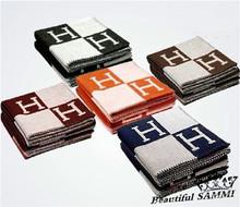 New arrival 165*140cm Blanket wool Cashmere Blanket Brand Designer Home Blankets Sofa H letter Winter Blankets Free shipping(China (Mainland))