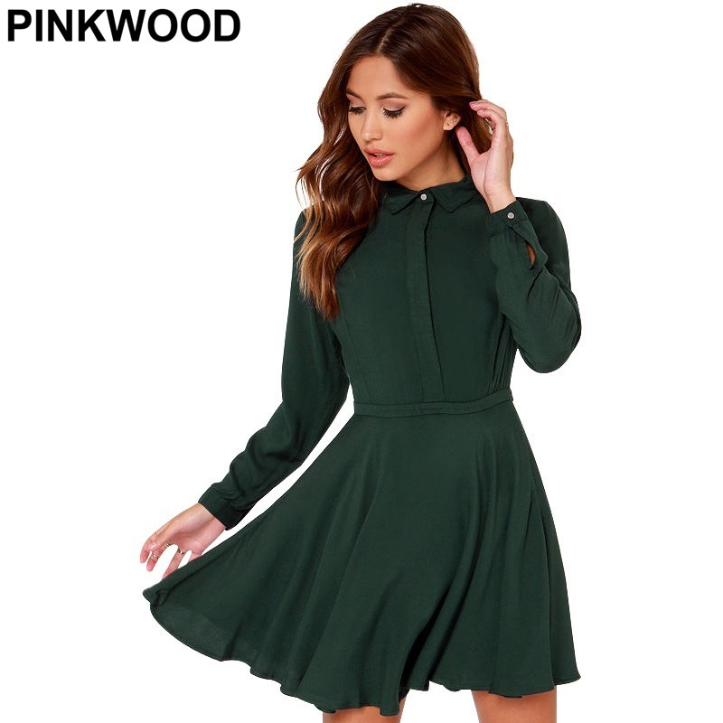 PINKWOOD New Fashion Cute Fitness Casual 2016 European Style Brand Clothing Dark Green Boy Friend Long Sleeve A Line Dress(China (Mainland))