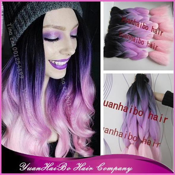 Stock! 20 fold three tone black/purple/pink ombre kanekalon braiding hair synthetic for women free shipping<br>