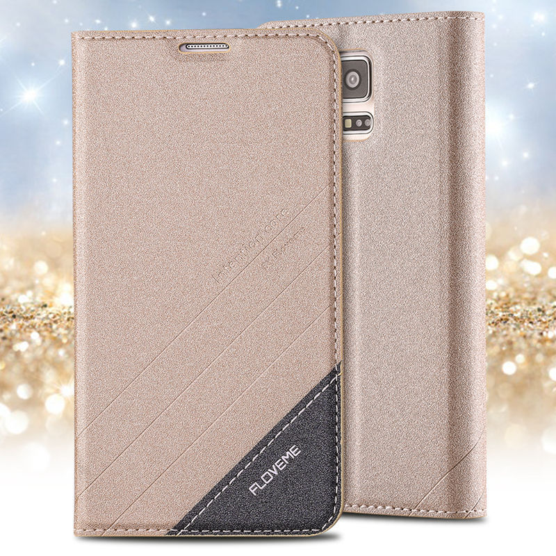 for Galaxy S5 Claasic Brand Logo Wallet Stand Card Slot Cover for Samsung S5 i9600 Retro Leather Shockproof Protective Flip Case(China (Mainland))