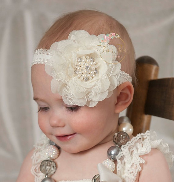 Baby Girl Lace Pearl Big Flower Baby Headband Wide Band Hairband Flowers Head Wrap Elastic Hair Band Accessories Bandeau bebe(China (Mainland))