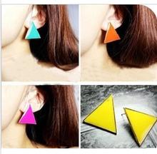 fashion multicolour triangle geometry  candy  color Stud Earrings E-116(China (Mainland))