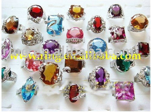 Free shipping!wholesale lots Oversize Multi-colored CZ silver rings Crystal ring jewelry ring fashion rings