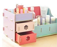 Fashion Wooden Double Drawer Cosmetic Make up Removable Collection Organizer, Jewelry Storag(China (Mainland))