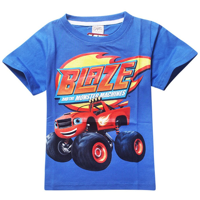 Blaze and the Monster Machines Children T Shirts Fit 2016 Summer Boys Kids Short Sleeve Tees Cotton Baby Clothing Boys T-Shirts(China (Mainland))