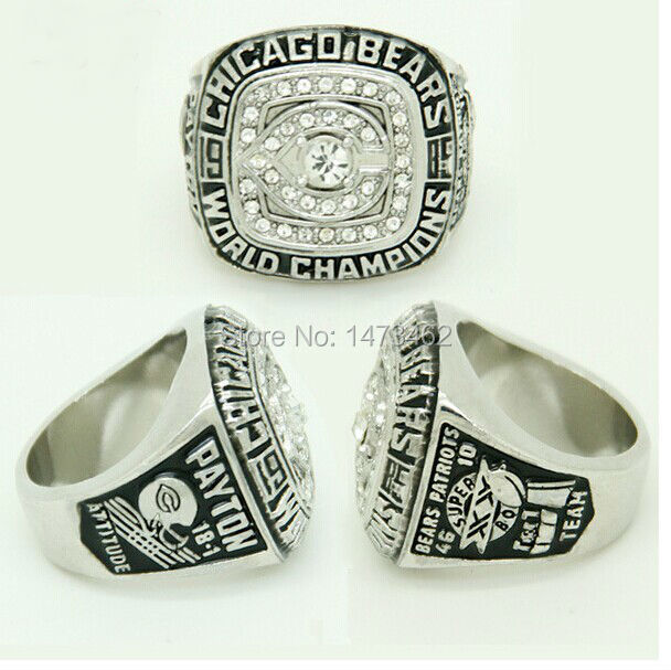 SOLID BACK CHICAGO BEARS XXX SUPER BOWL RING 1985 CHAMPIONSHIP RING PAYTON AS FANS BEST GIFTS(China (Mainland))