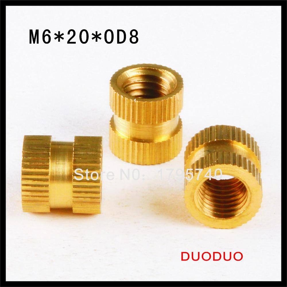 20pcs M6 x 20mm x OD 8mm Injection Molding Brass Knurled Thread Inserts Nuts<br><br>Aliexpress