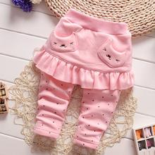 Baby Girls Pants with Skirts  Spring Autumn Cotton Above Knee Solid Color Fashion Bear Pockets Decoration Culotte Casual  Style(China (Mainland))