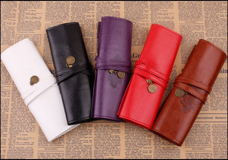 1 PCS Retro Vintage Roll Leather Make Up Cosmetic Pen Pencil Case Pouch Purse Bag Box 6 Color(China (Mainland))