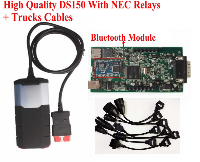 DS150E With New NEC Relays Bluetooth DS150 New VCI V2014.02 With Keygen TCS CDP PRO Scanner + Truck Cables