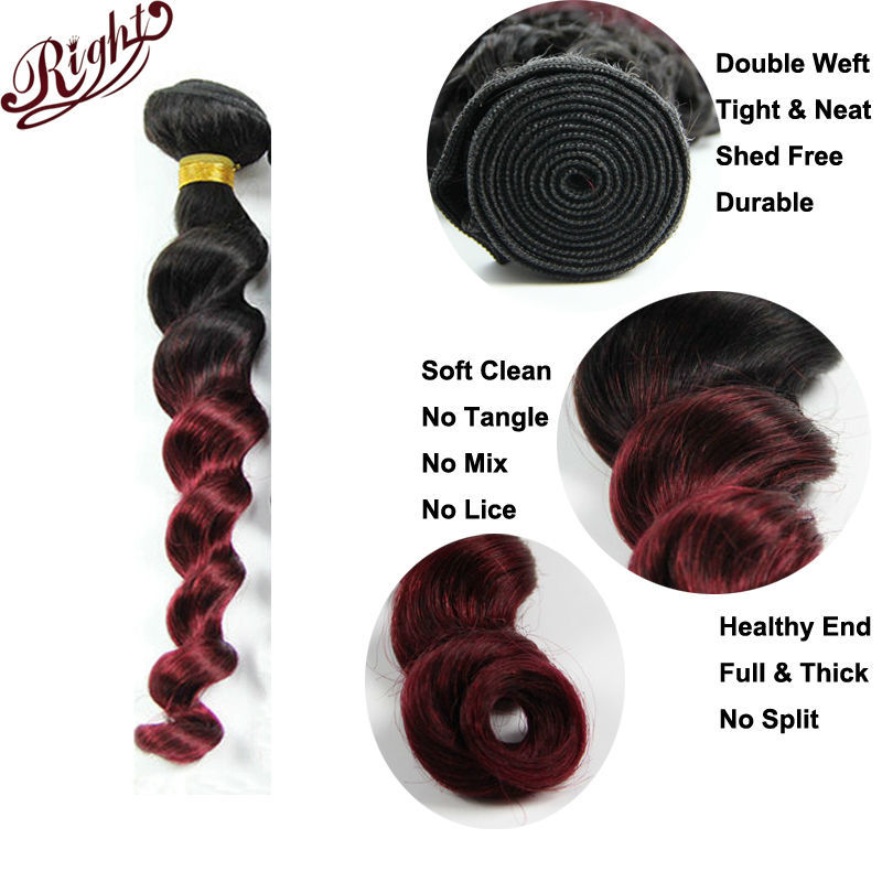 7a Malaysian Loose Wave Virgin Hair Ombre Two Toned Hair Weave