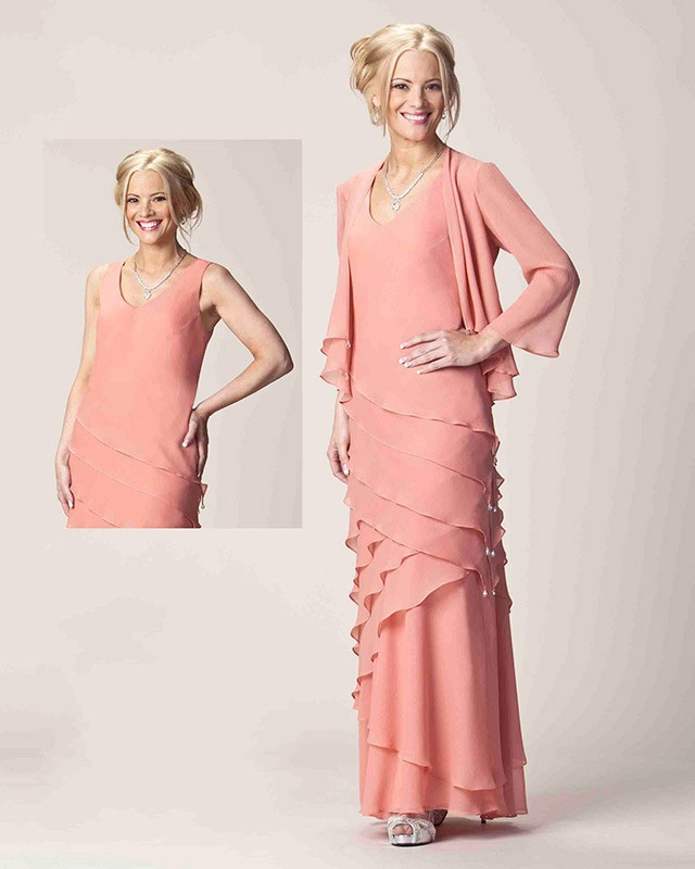 Peach Color Mother Of The Bride Dresses 102