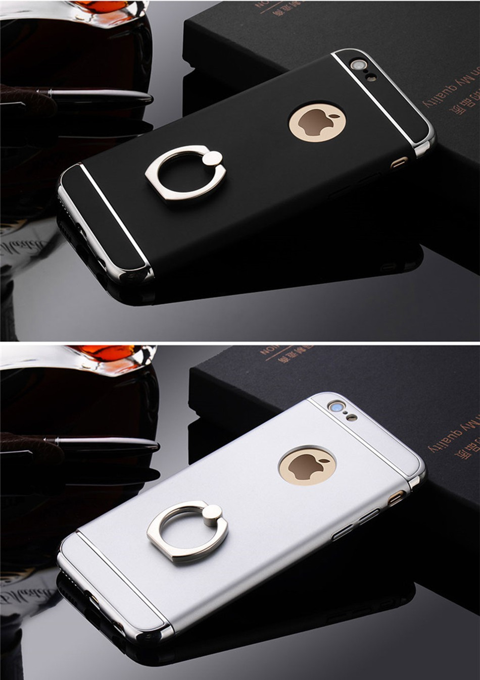 360 Degrees For iphone 6 4.7inch Case Luxury 3in1 UltraThin Shockproof plating Metal Finger Ring For iphone6 S Phone Accessories