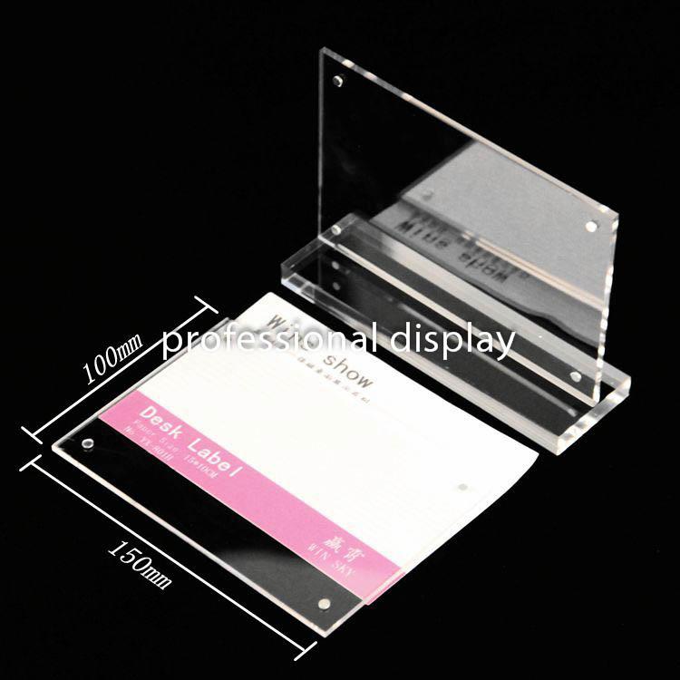 A6 Horizontal Magnetic transparent acrylic sign holder landscape desktop label display stand slant Ad Photo Frame 15cm*10cm(China (Mainland))