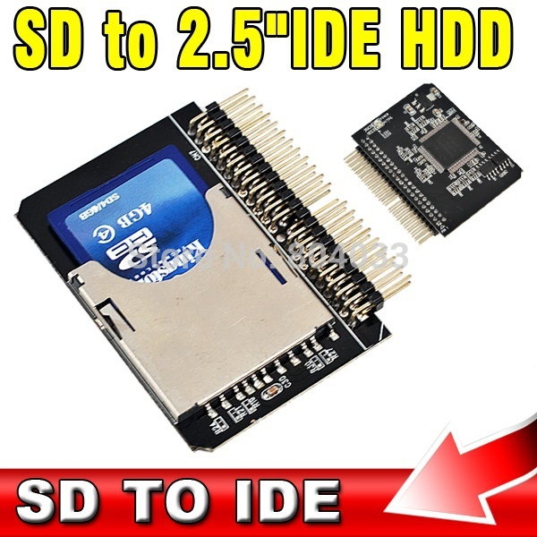 "AK SD to IDE 2.5"" 44 Pin Adapter SDHC/SDXC/MMC to IDE 2.5 inch 44pin Male Converter(China (Mainland))"