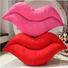 Funny pink and red lip plush cushion
