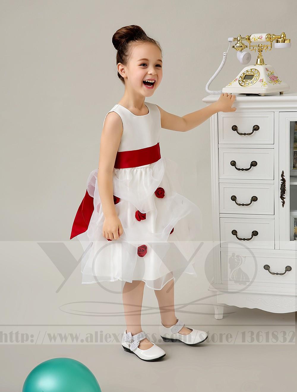 Скидки на Сатин, Тюль Строки маленькая Девочка Платья с красным поясом девочек свадебные платья вечернее платье маленькие девочки pageant Платья