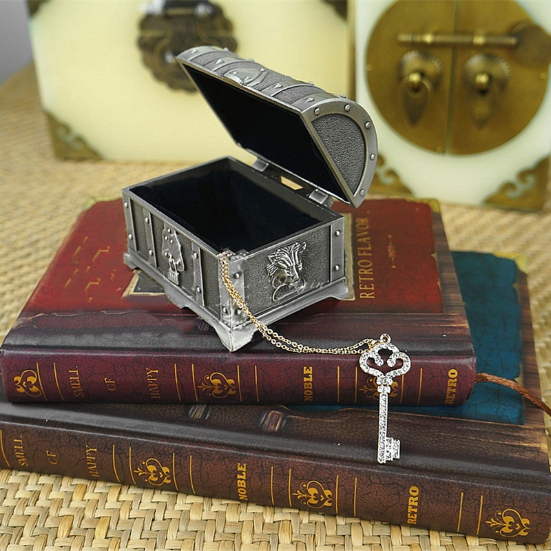 Vintage Pirate Treasure Chest Jewelry Box Case Perfect Gift Alloy Metal Home Decor(China (Mainland))
