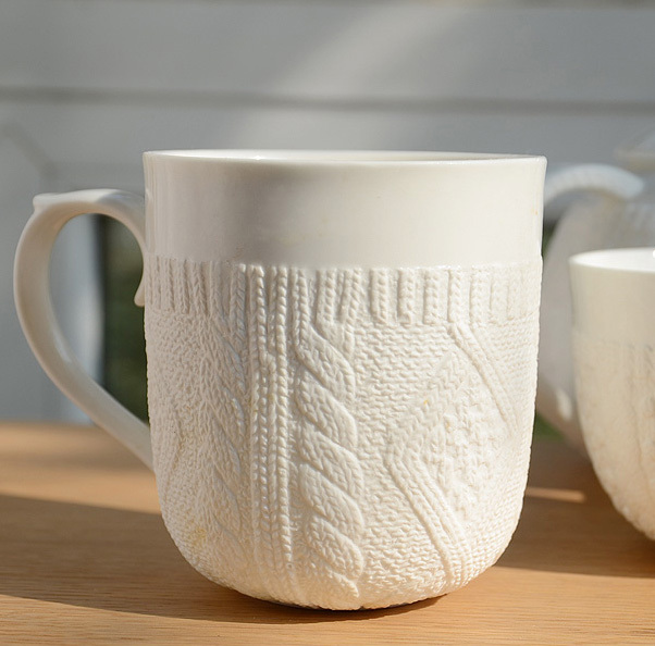 Free shipping hot selling knitted sweater white mug, fine bone china ceramic coffee mug, zakka porcelain cup(China (Mainland))