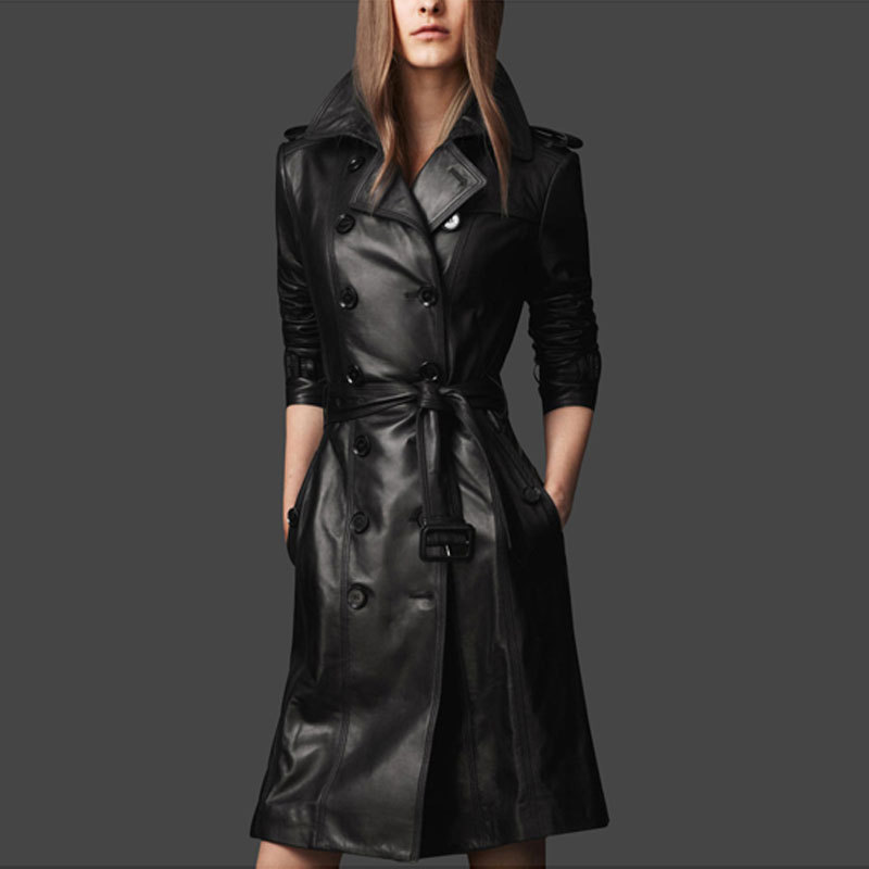 Free Shipping 2014 autumn fashion black Long leather dust coat women motorcycle leather jacket www jacket com(China (Mainland))