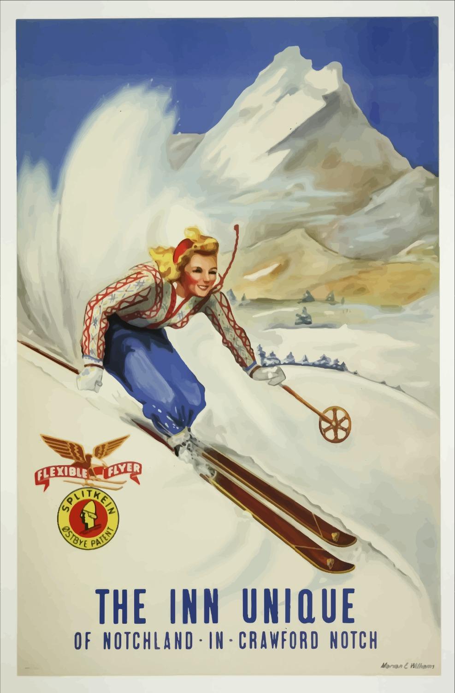 THE INN UNIQUE Snow Mountain Ski Art CITY Vintage Retro Kraft Decorative Poster DIY Wall Sticker Home Bar Posters Decor Gift(China (Mainland))