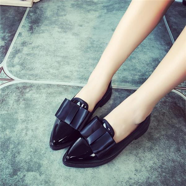 2015 spring and autumn British style casual shoes shallow mouth with the tip of the bow Peas shoes flat shoes student<br><br>Aliexpress