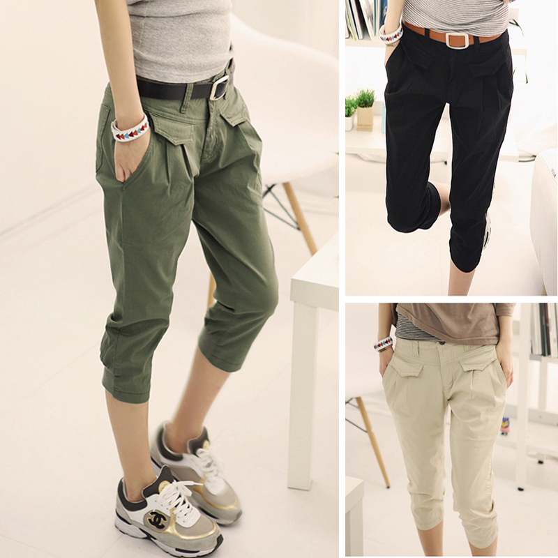 Model Women Pants 2015 Linen Casual Pants Personality Loose Harem Pants Plus