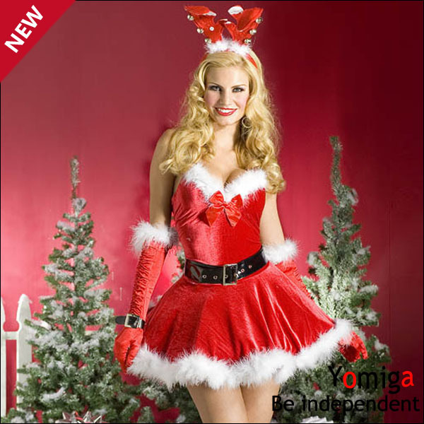 Cosplay red xmas new year nightclub sexy female costume dress animal adult giraffe deer miss christmas santa claus costumes suit(China (Mainland))