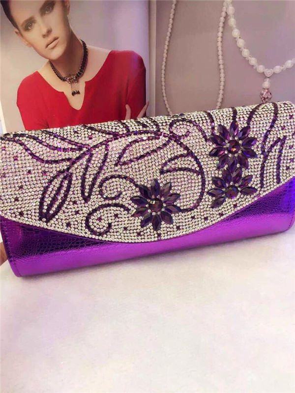 high quality genuine leather hand bag wallet made of diamond and designer ladies leather clutch bag with crystal(China (Mainland))