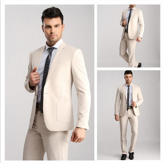 New Arrival Hot Selling Khaki Terno Masculino Business Formal Slim Fit Popular Men Suits With Pants Fashion Tuxedos(China (Mainland))
