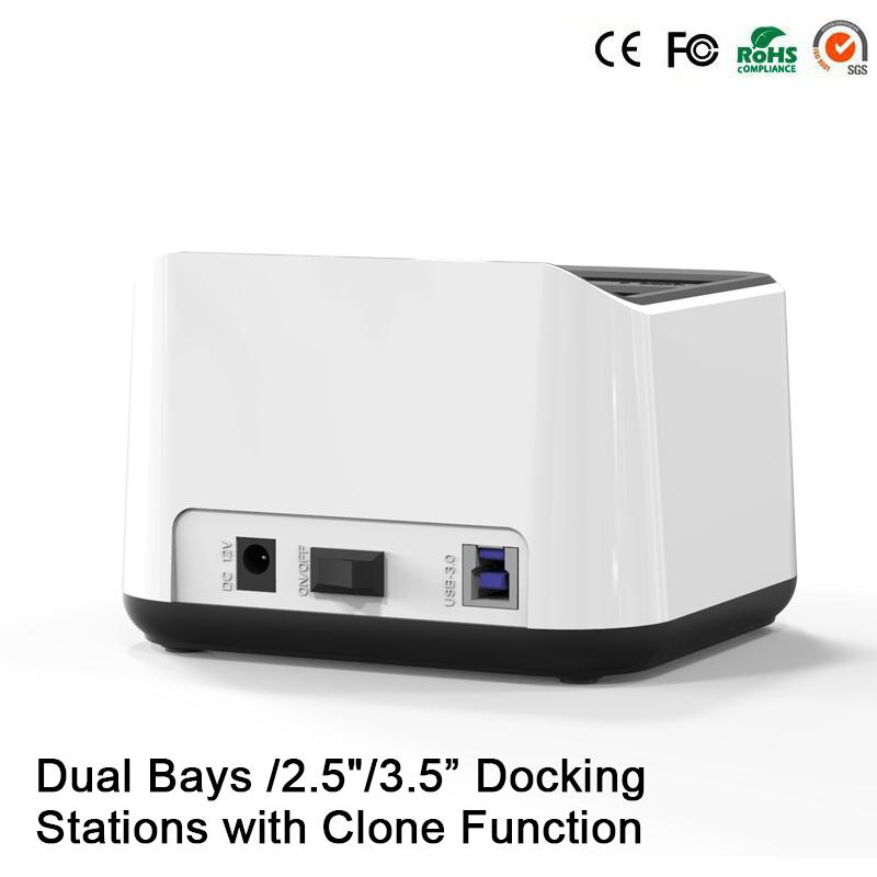 2 Bay caja disco duro externo 2.5 usb 3.0 usb enclosure clone 2nd hdd caddy 9.5mm hd enclosure hard disk 2.5 case 3.0 hdd dock(China (Mainland))