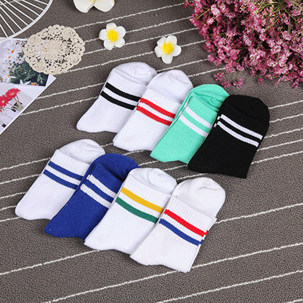 2016 Women Girl Casual Cotton Fashion Sports Brief Striped High Hosiery Socks