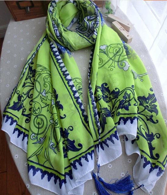 Китайский стиль и белый фарфор неоновый желтый зеленый шарф женский плащ шарф жидкости женщины кисточкой шарф ( C-007 )