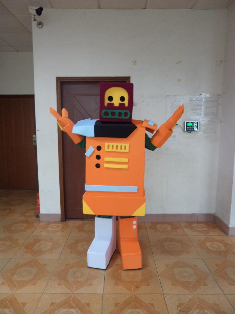 2015 nuevas fotos reales moda Deluxe Robot traje de la mascota de Halloween envío gratis(China (Mainland))