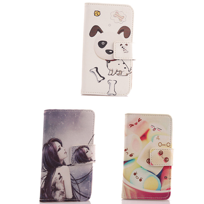 Top Quality Flip PU Leather Book-style Cell Phone Cover Case For Vodafone Smart first 6 Card Holder Wallet Bags(China (Mainland))
