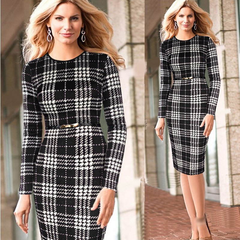 New 2016 Women Winter Autumn Long Sleeve Bodycon Red Plaid Office Dress Vintage Tunic Business Pencil Cocktail Party Dresses(China (Mainland))