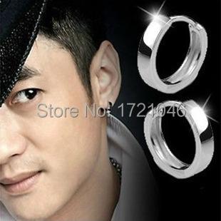 Calidad suave pendientes de aro de plata para hombre moda unisex pequeño círculo de la joyería