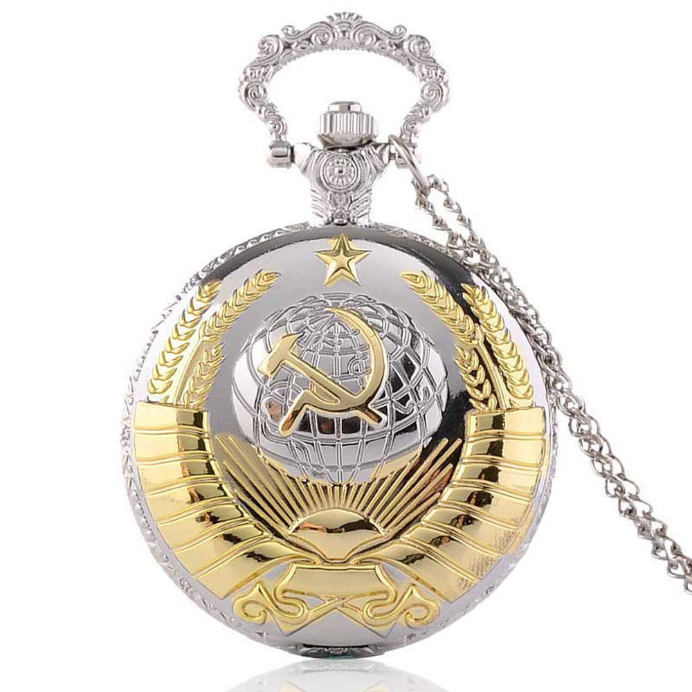 Fashion Silver/Bronze/Gold USSR emblem Earth Sickle Hammer Quartz Pocket Watch Analog Pendant Necklace Mens Womens Watches Gifts(China (Mainland))