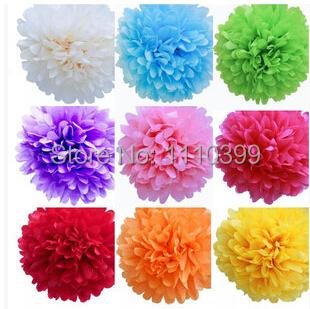 1pc 25cm(10inch) Tissue Paper Pom Poms Wedding Party Decor Craft Paper Flowers Wedding birthday party(China (Mainland))
