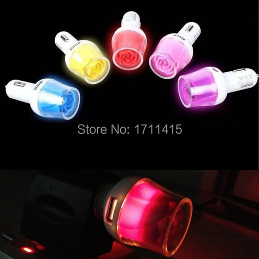 Fashion Hot Rose LED Car Charger Universal Dual USB Car Charge Adapter For iphone 6 plus 5s for Samsung S5 note 3 4 Tablet(China (Mainland))