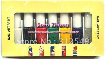 Free Shipping - 7 Colors Nail Art Paint Drawing Stamping Nail polish Set For nail stamper