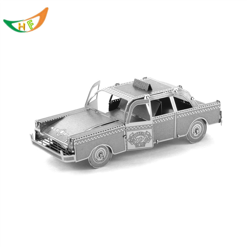 Collectible model cars Metal stainless steel DIY assembly 3D model puzzle TAXI car(China (Mainland))