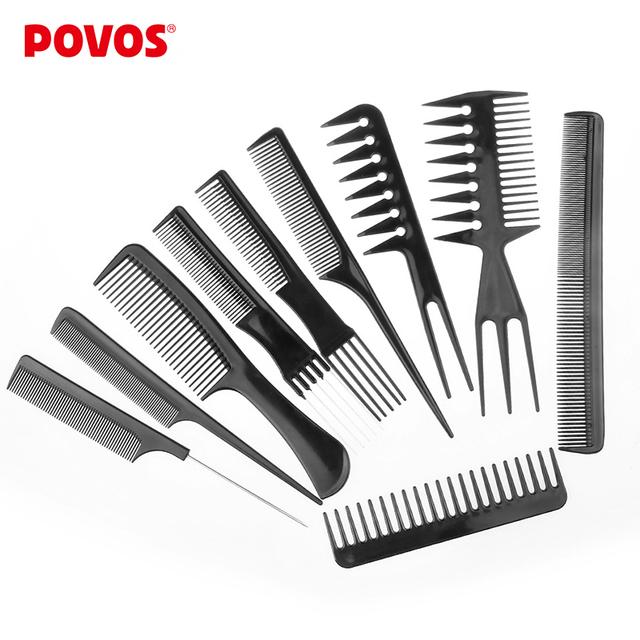 Povos 10 шт./компл. профессиональный салон комбс комплект из черного пластика парикмахеры укладки волос инструменты парикмахерская бесплатная доставка
