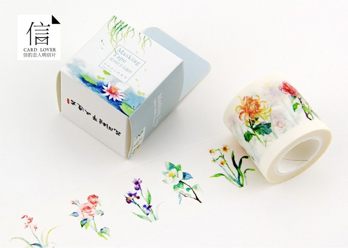 Free Shipping 4cm 10m Wide Beautiful Flower Washi Tape Box packing Adhesive Tape DIY Scrapbooking Sticker
